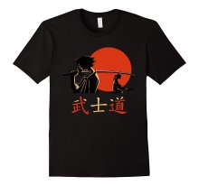 Bigaga Go New Summer Fashion Print Short Tees Samurai warriors under orange moon Bushido  O-Neck 100% Cotton Men's T-Shirt