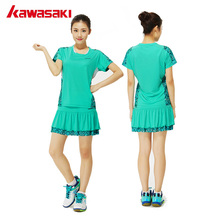KAWASAKI Women Sports Set Badminton Tennis Suit 100% Polyester Quick Dry Breathable T-Shirt with Pleated Skirt Skort Clothing