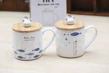 Cat Mugs Ceramic milk cups Cartoon lid cute Coffee cups Cup With Lid Spoon creative gift Breakfast cup swell bottle