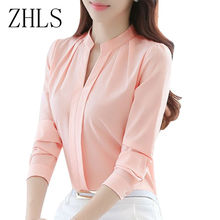 Spring Autumn Women Tops Long Sleeve Casual Chiffon Blouse Female V-Neck Work Wear Solid Color White Office Shirts For Women(China)