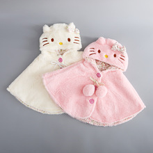 Baby Hello Kitty Cloak Kids Baby Girl Clothes Soft Fleece Cloak Coat Toddler Girls Clothing Cape For Winter Outerwear(China)