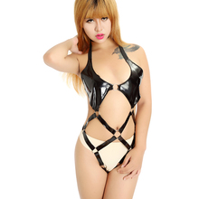 Buy Sexy Lingerie Latex Catsuit Sexy Dress Shop Sex Underwear Sexy Costumes Erotic Cloth PU Hooded Jumpsuit Halter Teddies Sextoys