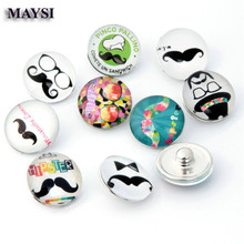 NEW 10pcs/lot Mixed Styles Moustache 18mm Snaps Button Glass Ginger Snap Button Fit Charm Bracelet Jewelry se(China)