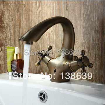 Free shipping wholesale Luxury Basin Faucets. Brass antique polished Bathroom Vessel Sink bath Faucet / Mixer Tap,dual handles<br><br>Aliexpress