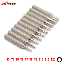 "MING YU 10Pcs 1/4"" Security Torx T3 T4 T5 T6 T7 T8 T9 T10 T15 T20 Screwdriver Bits Set Kit 25mm (6.35mm) Screwdriver Repair Tool"