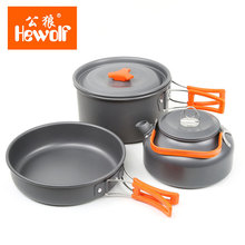 New Brand Outdoor Cookware Utensils set 2-3 Person Family Camping Teapot aluminum Pot 3 pcs per Set(China)