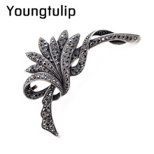 Young Tuip Black Color Rhinestone Flower Brooches For Women Fashion Large Brooch Pin Winter Jewelry Party Accessories Good Gift(China)