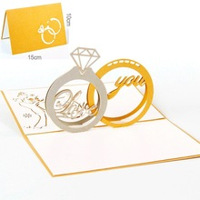 10pc/pack Golden Silver 3D Romantic Wedding Party Invitation Card Wishes Greetings Congratulations Delicate Diamond Ring Card