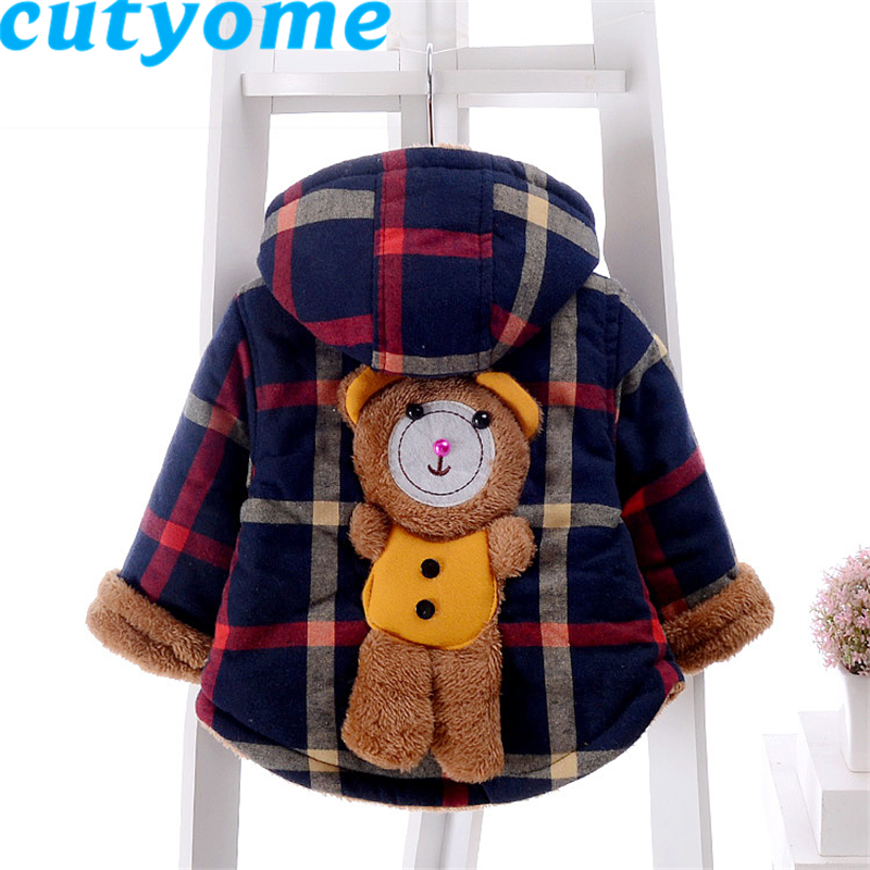 Aged 1-4 Years Old Autumn/ Winter baby boys cartoon bears coat Trench hooded padded coat warm outdoor jacket boys parka jacketОдежда и ак�е��уары<br><br><br>Aliexpress