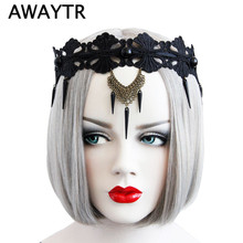 AWAYTR Fashion Punk Rivets Pendant Hairband Headband for Women Sexy Black Lace Crystal Halloween Party Hair Accessories