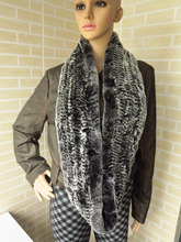 Genuine rex rabbit fur  circle scarf wrap cape dark black with white tips