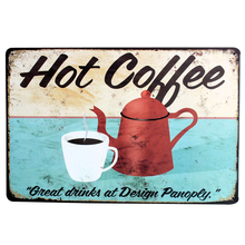 HOT COFFEE with pot and cup Metal Decor Plaque Tin Retro Picture for time party decor in shop boutique kitchen LJ5-7  20x30cm B1