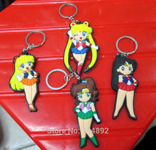 40 pcs/lot Sailor Moon figure keychain Sailor Moon Venus Jupiter Mars pvc key ring anime sex girl pendants free shipping(China)