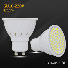 Super Bright 4W 6W 8W GU10 LED Spotlight AC 220V Led Lamp Light Warm White / Cold White / White GU 10 Base  Lampada LED Bulbs