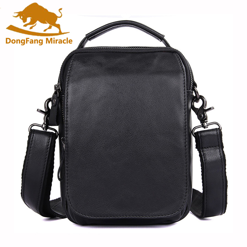 Hot sale New Casual Vintage genuine leather men bags small shoulder bag men messenger bag leisure bag Flap For men<br>