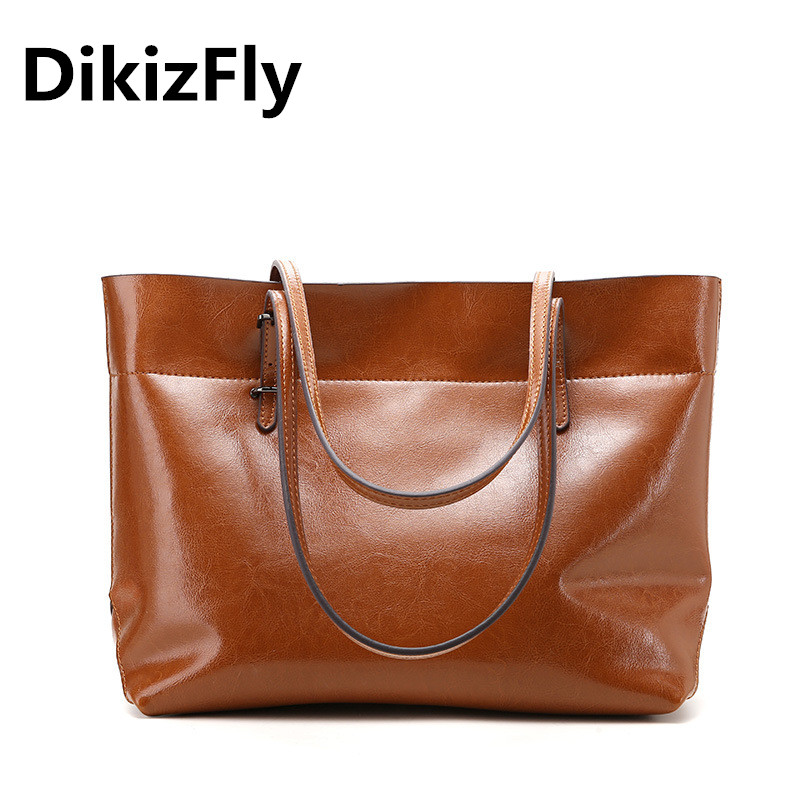 DikizFly Fashion High Quality Split Leather Casual Totes women shoulder bags New Designer Women Handbags Women Big Bags Purses<br>