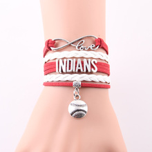 Little Minglou Infinity Love Indians bracelet Cleveland baseball charm leather wrap men Bracelets & Bangles for women jewelry