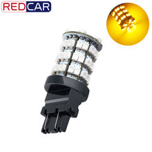 6pcs 3156 3157 Amber / Yellow 60 SMD Stop Tail Brake Turn 60 LED Car Light Lamp Bulb V6 12V p27/7w led(China)