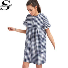 Sheinside Checkered Smock Dress Cute Ladies Wear Navy Ruffle Sleeve Bow Tie Back Summer Dresses 2017 Women Casual Cotton Dress