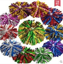 Metallic Foil & Plastic Ring Pom Poms Cheerleading Poms(China)