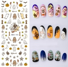 DS350 DIY Water Transfer Nails Art Sticker Vintage Halloween Bat Elements Nail Wrap Sticker Tips Manicura stickers for nails