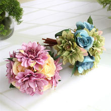12 heads/bouquet gift silk Chrysanthemum rose bouquet artificial peony bouquet real touch roses wedding bridal bouquet decor