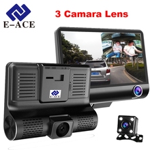 E-ACE 4.0 Inch Car Dvr Dash Camera Dual Lens With Rear View Video Recorder 3 Cameras 170 Degree Angle Hidden Auto Registrator