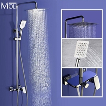 "Wall Mounted Rain Shower Set Luxury Square Shower Head 8"" 10"" 12"" Shower Set with Hand Shower"