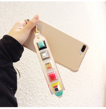 Dower Me Fashion Design Colorful Square Rivet Studded Wrist Strap PU Leather Hard Back Phone Case Cover For iPhone 7 6 6S Plus