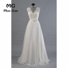 Buy 2018 A-Line Wedding Dress Lace Flowers Robe de mariage Sweep Train White Vestido de noiva Appliques Lace Bridal Gown for $122.55 in AliExpress store