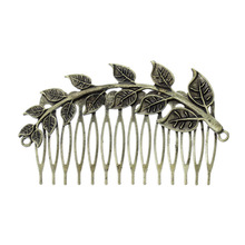 Hair Clips Comb Shape Antique Bronze Leaf Branch Pattern Hollow 8.7cm x 5cm,1PCs  (B38786S)