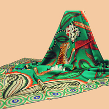 "Huajun || The latest brand scarf green ""The Savana Dance"" 140 large silk scarf 100% silk silk shawl twill silk"