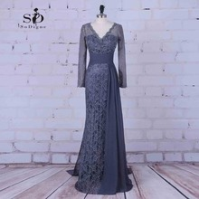 Formal Dresses 2017 Lace Grey Chiffon Long Party Dresses Long Sleeve Muslim Dress Beads Floor-length Evening Long Dress Elegant(China)