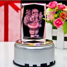 3D Laser Crystal Insiding Carving Santa Claus Cube Glass Crafts Home Decor Ornaments Christmas New Year Personalized Gifts