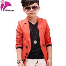 New Brand 2016 Spring Autumn Fashion Children's Boys Coats Solid Black Orange Gentleman Blazers Jackets Boys Clothes Costumes(China)