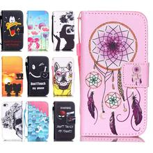2016 Newest Amazing Case For iPhone 5 5S 5G Full Protective Leather Flip Capa Fundas Cover For 5 S with Donald Duck and Dog