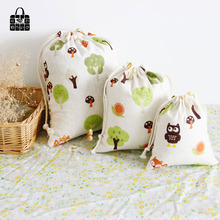 Green trees print cotton linen fabric dust cloth bag Clothes socks/underwear shoes receive bag home Sundry kids toy storage bags