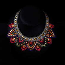 2016 New Fashion Elegant Multi Color Acrylic flowers Vintage ornamentation Choker Statement Necklaces For Women colar N1788