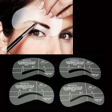 4 Styles Grooming Brow Painted Model Stencil Kit Shaping DIY Beauty Eyebrow Stencil Make Up Eyebrows Styling Tool(China)
