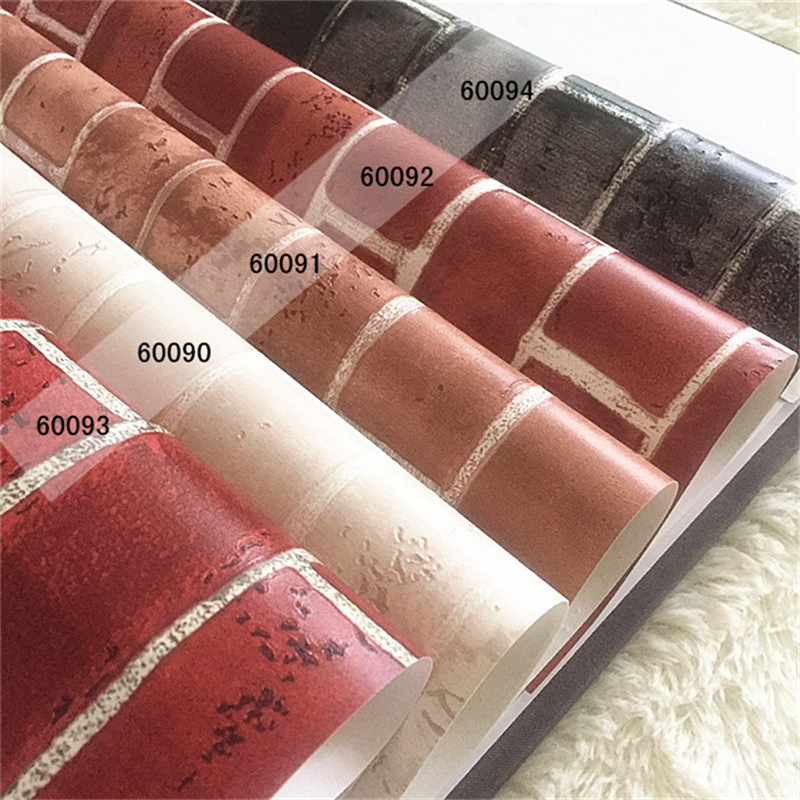 beibehang Red and yellow lime brick brick wall wallpaper foot bath city snack shop Chinese classical wallpaper<br>