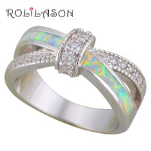 ROLILASON Engagement Rings White Fire Opal 925 Silver Fashion Jewelry Rings for Ladies USA Size #5#6#7#8#9#10#11#12 OR884