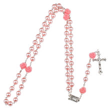 NingXiang Fashion Rosary Round Beads Red Flower Catholic Rosary Necklace Women Glass Bead Crucifix Necklaces Religious Jewelry