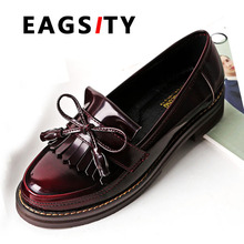 vintage loafers flats casual shoes women slip-on round toe boat shoes ladies tassel oxfords shoes wine red