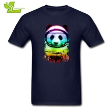 Colorfull Space Panda T Shirt Teenage Latest Personality Tshirt Loose T-Shirt Men's Summer 100% Cotton Cool Teenboys Tops(China)