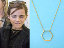 New Geometric Gold Hexagon necklace for Women Simple Plain Long Chain Jewelry Necklace EY-N142