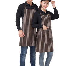 Brown White Stripe Women Men Chef Waiter Aprons Bib Pinafore Nylon Sleeveless Apron With Pockets For Restaurant Kitchen Cooking(China)
