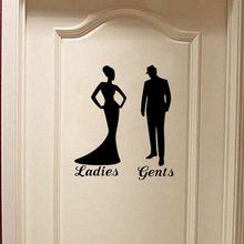 Stylish Vintage Man Woman Toilet Door Sticker Creative Home Decoration Decal Wall Sticker A2203(China)