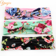 12pcs/lot Popular High-quality Spring Style Floral Print Cotton Infantile Bunny Headband New Arrival Kids Girl Headwrap Bandeau