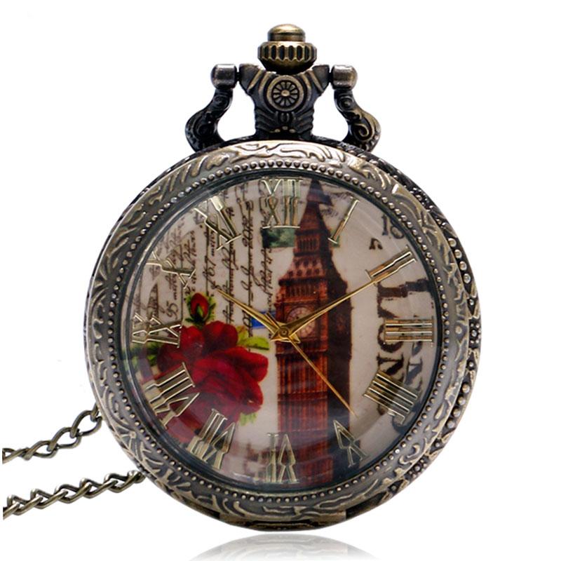 Vintage-Glass-Transparent-Cover-London-Tower-Big-Ben-Pocket-Watch-Elegant-Women-Watches-Gift