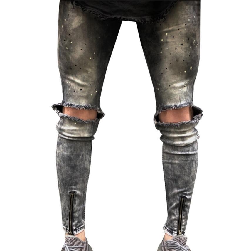 2018 New Crystal High Quality Men Slim Biker Zipper Skinny Frayed Pants Distressed Rip Denim Jeans Trousers Luxury Hot Sale